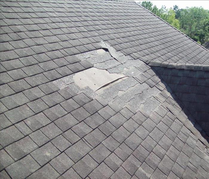 Missing shingles on a roof